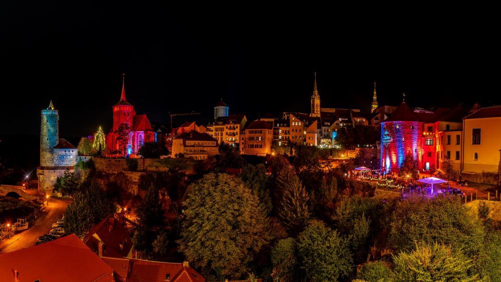 Colorful lights of Bautzen (Germany) wallpaper