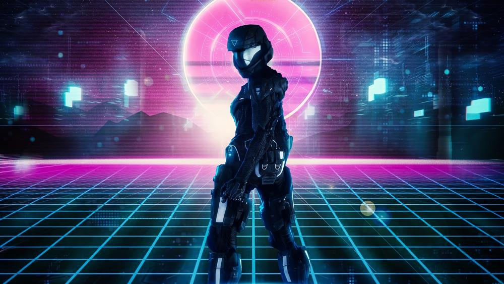 Retrofuturistic cyber woman wallpaper