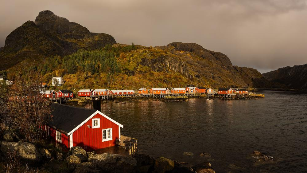 Norwegian fishing village wallpaper