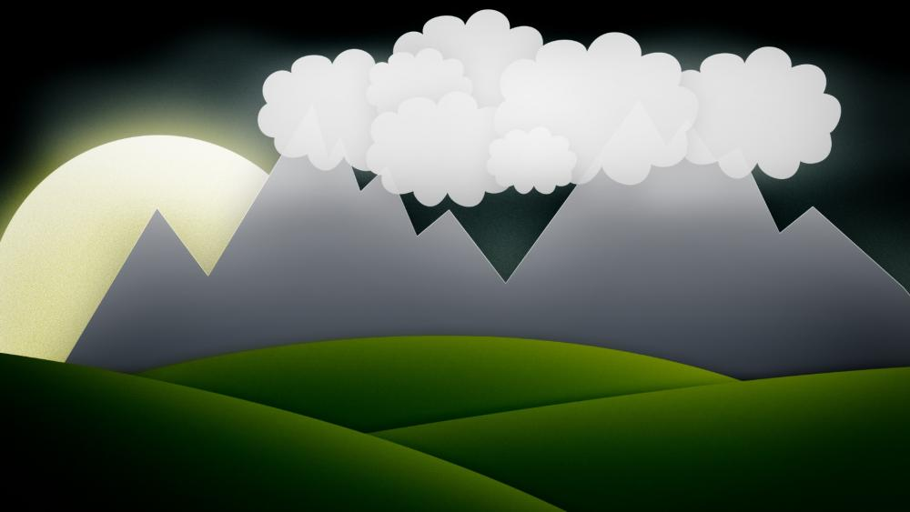 Simple mountain view drawing in children eyes wallpaper