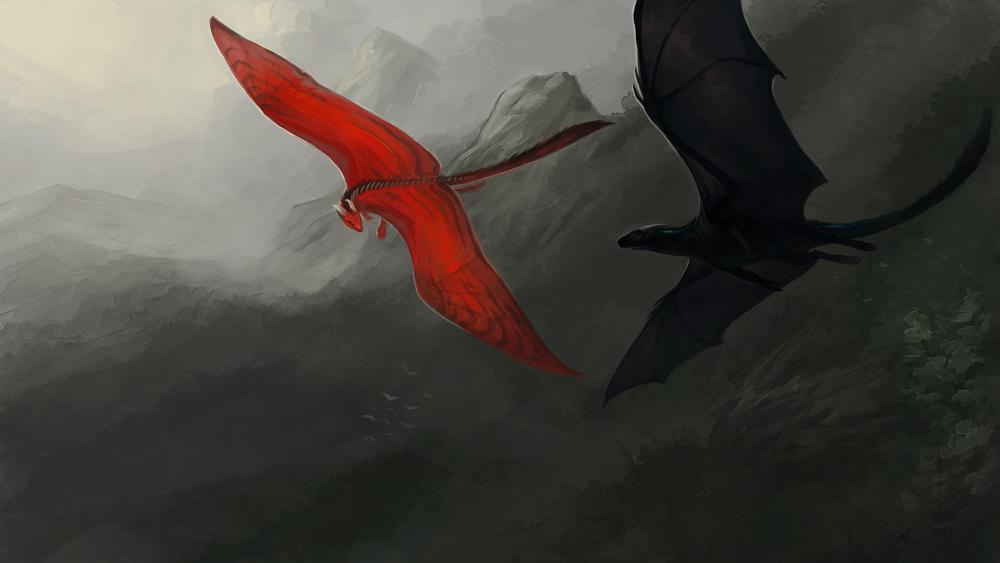 Red dragon and black dragon wallpaper