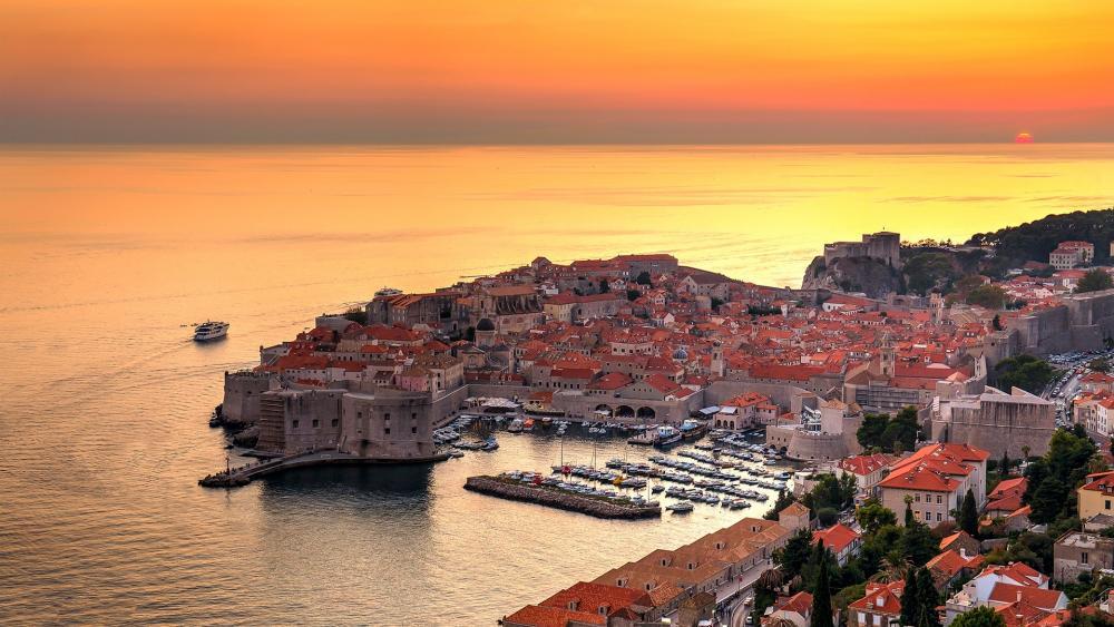 Dubrovnik at sunset wallpaper