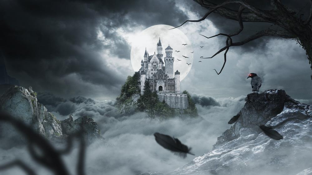 Castle in the moonlight wallpaper