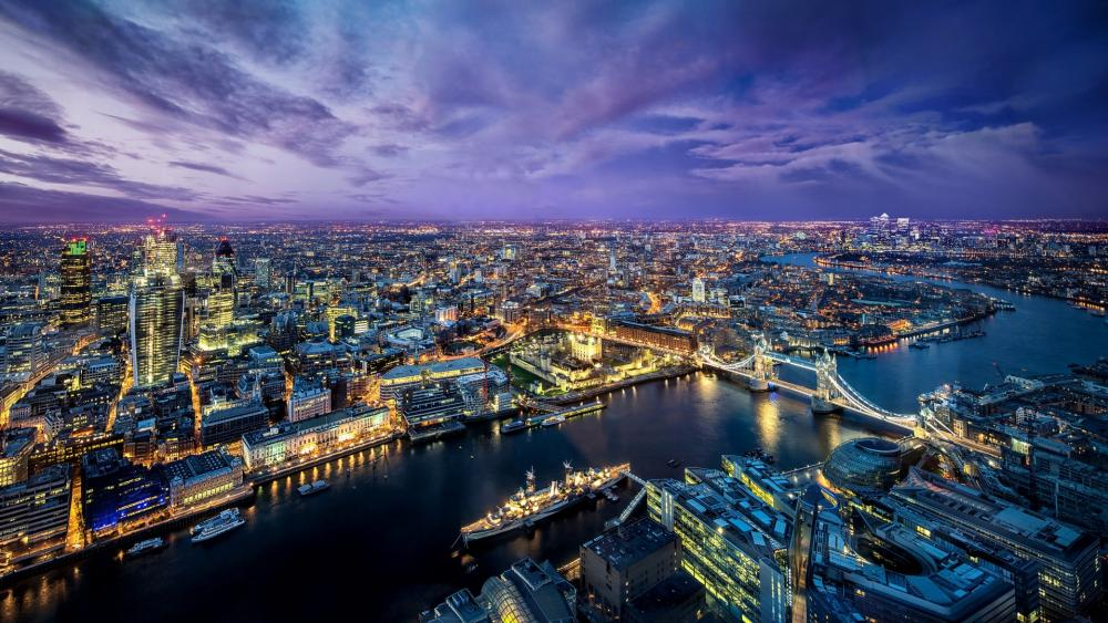 Bird's eye view of London wallpaper