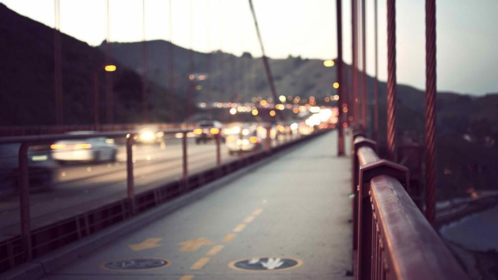 Bike Lane on Golden Gate Bridge wallpaper