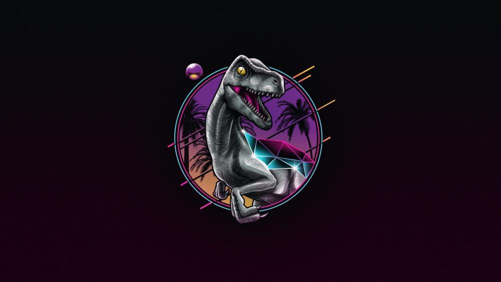 Dinosaur retro poster wallpaper