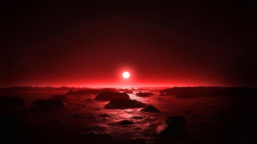 Red moonlight wallpaper