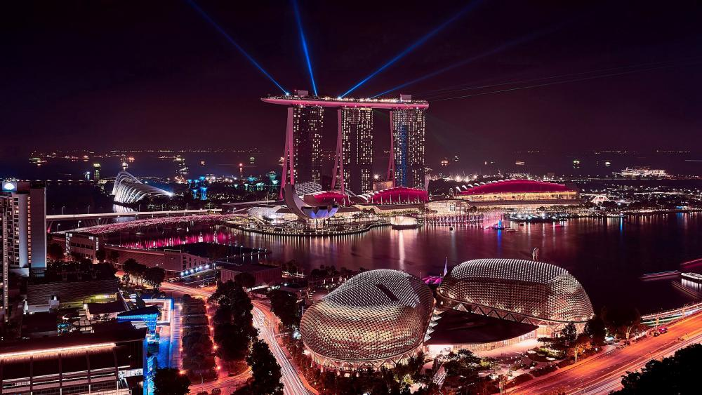 Marina Bay Sands at night (Singapore) wallpaper