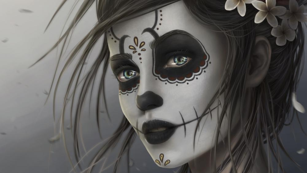 Day of the Dead Sugar Skull Girl wallpaper