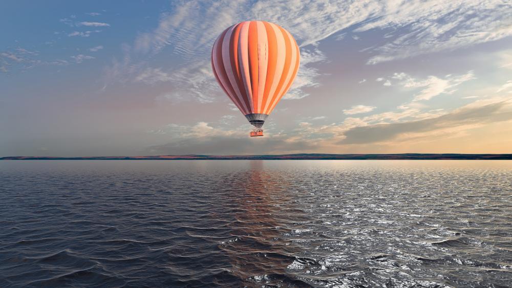 Hot air ballooning over the sea - Digital art wallpaper