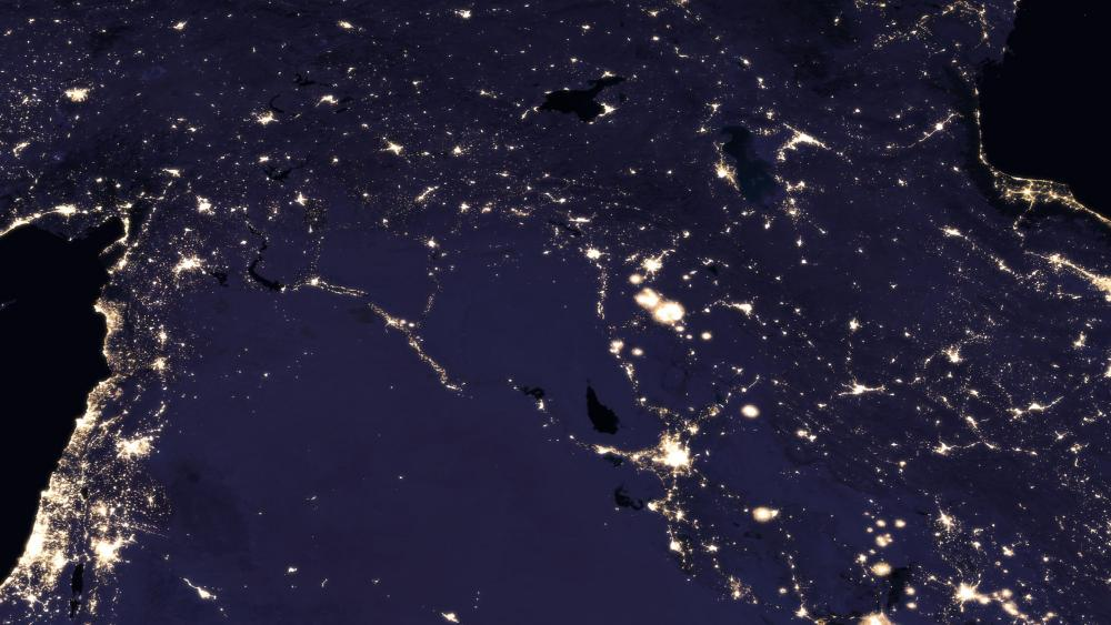 Night Lights in the Middle East in 2012 wallpaper