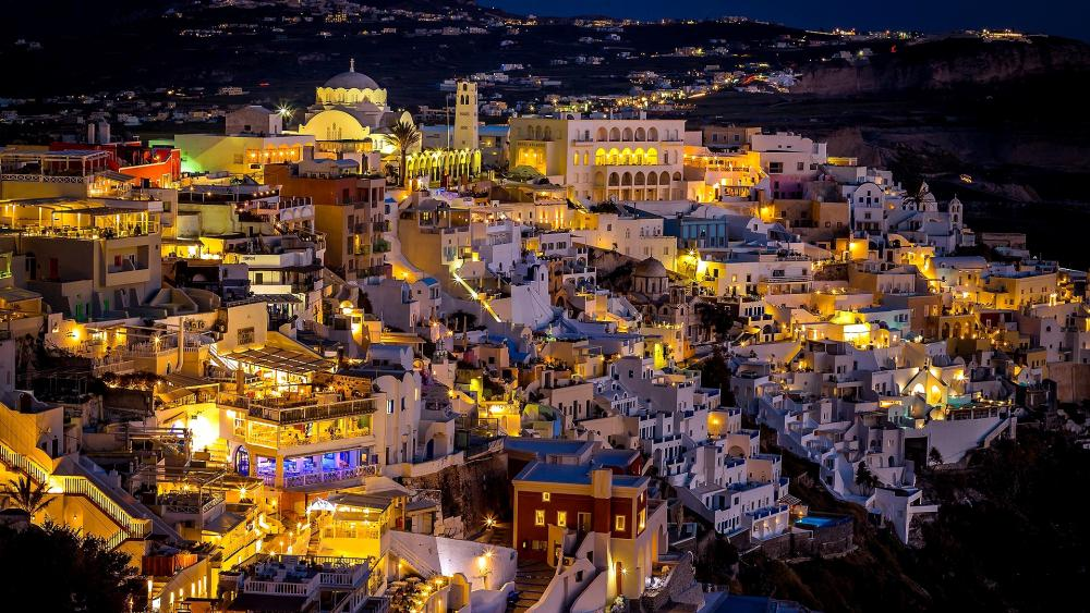 Santorini at night wallpaper