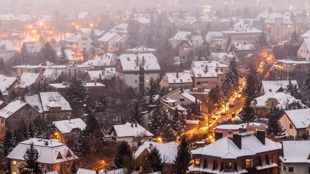Suburban Budapest in wintertime (Hungary) wallpaper
