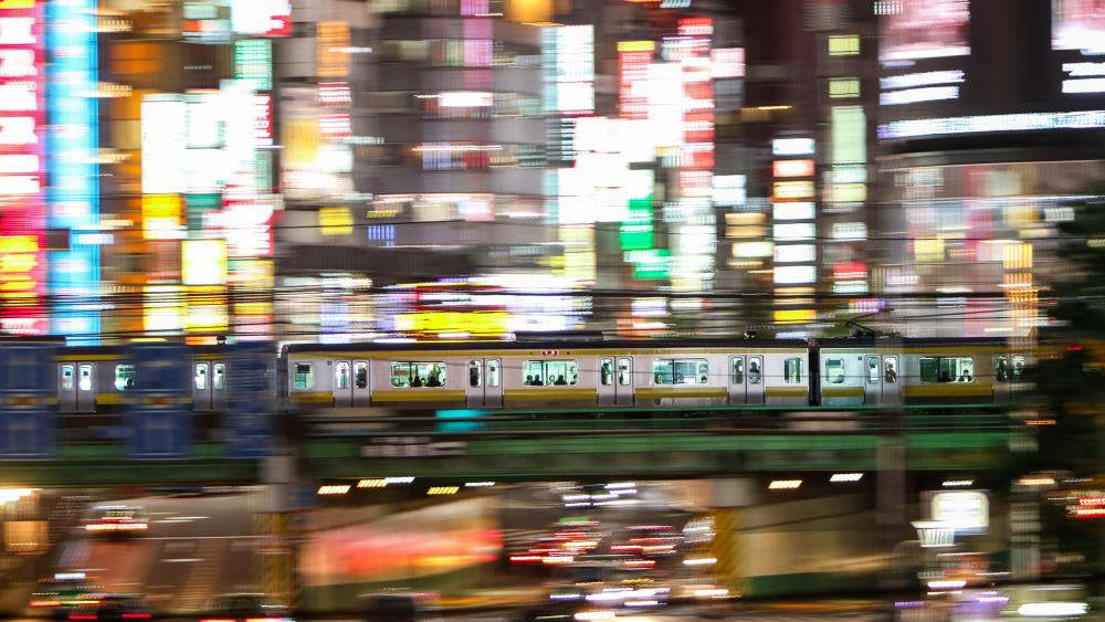 Shinjuku Train Crossing wallpaper