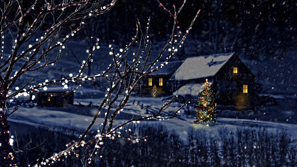 Christmas lights in the snowfall wallpaper