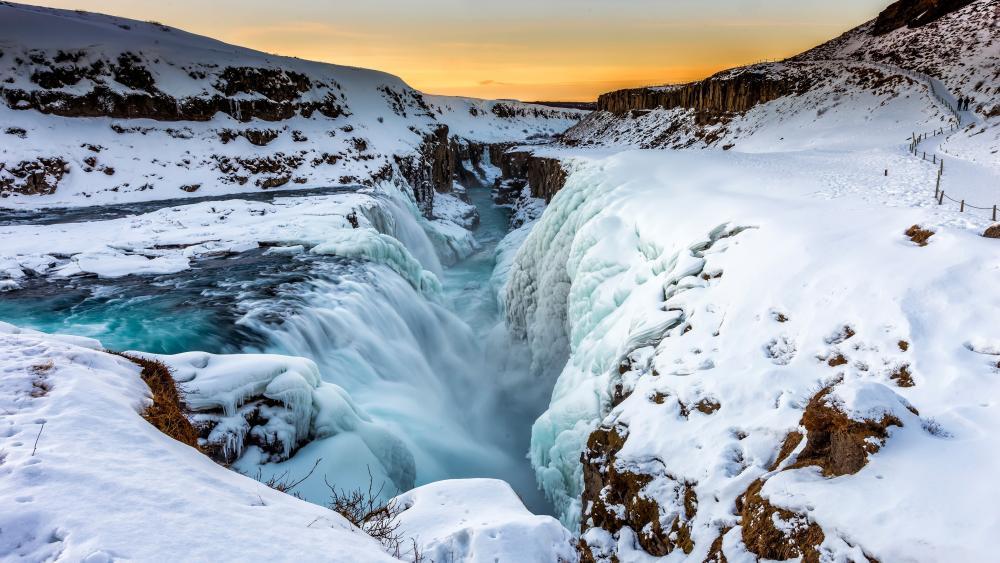 Gullfoss waterfall in winter season wallpaper