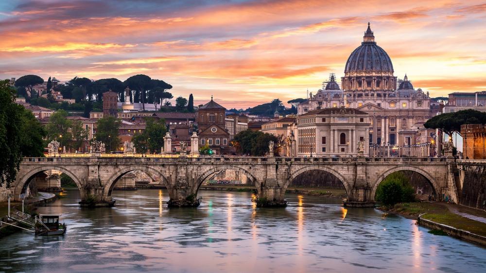 Bridge of Angels and St. Peter's Basilica wallpaper