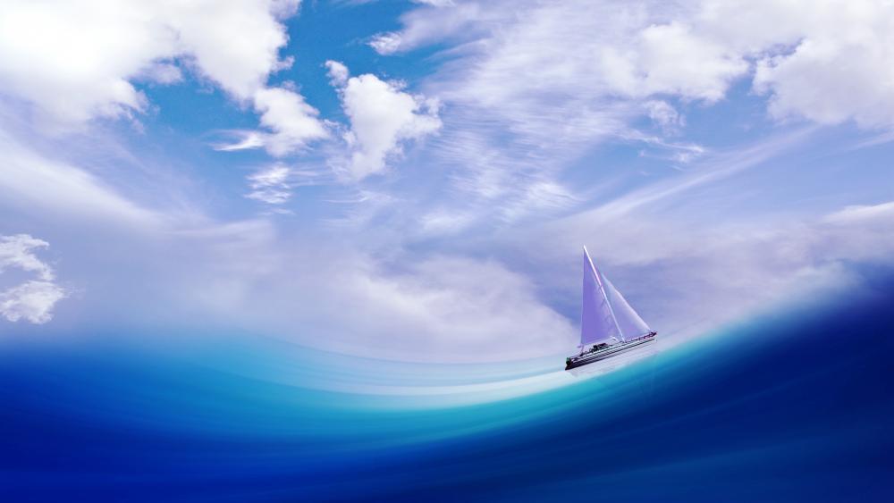 Sailbaot on the blue sea wallpaper