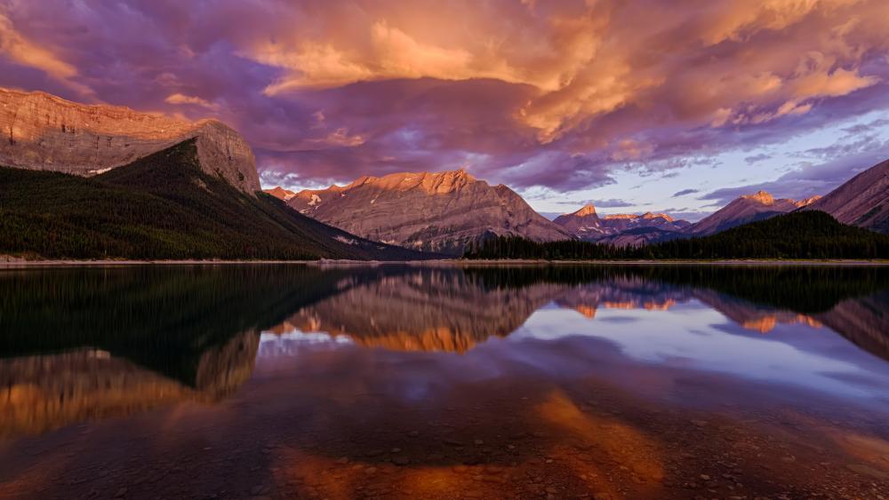 Upper Kananaskis Lake at sunrise (Alberta, Canada) wallpaper