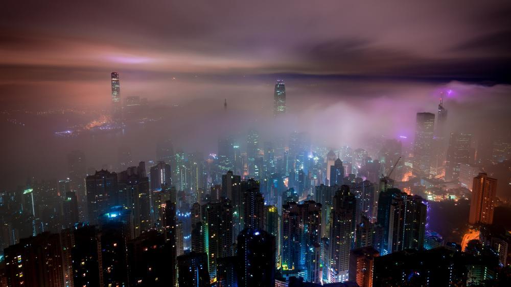 Foggy Hong Kong skyline wallpaper