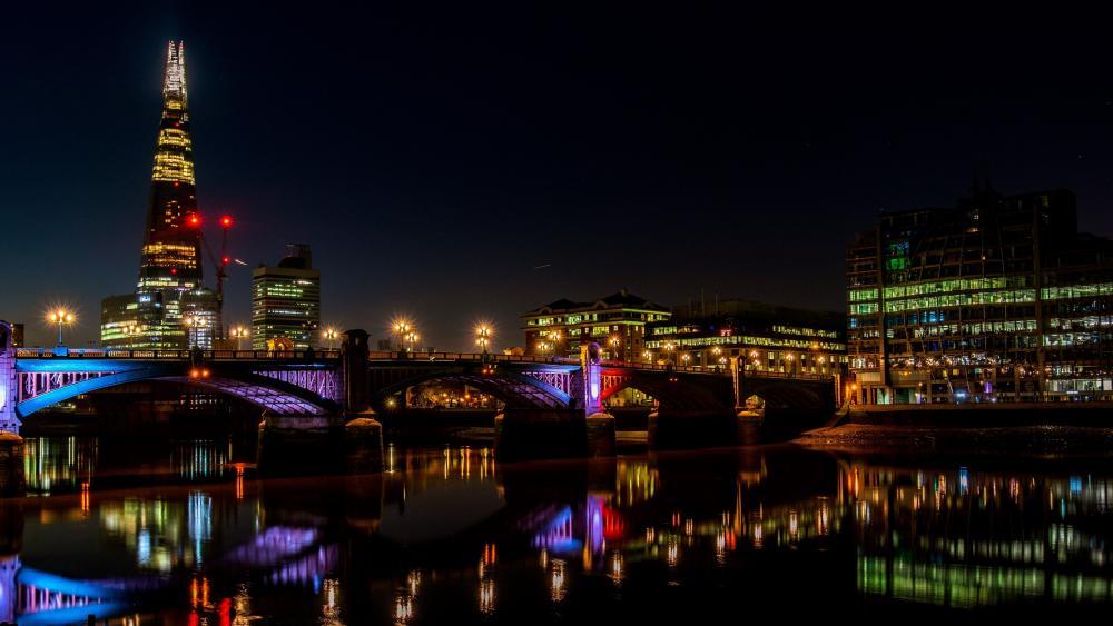 London skyline at night wallpaper