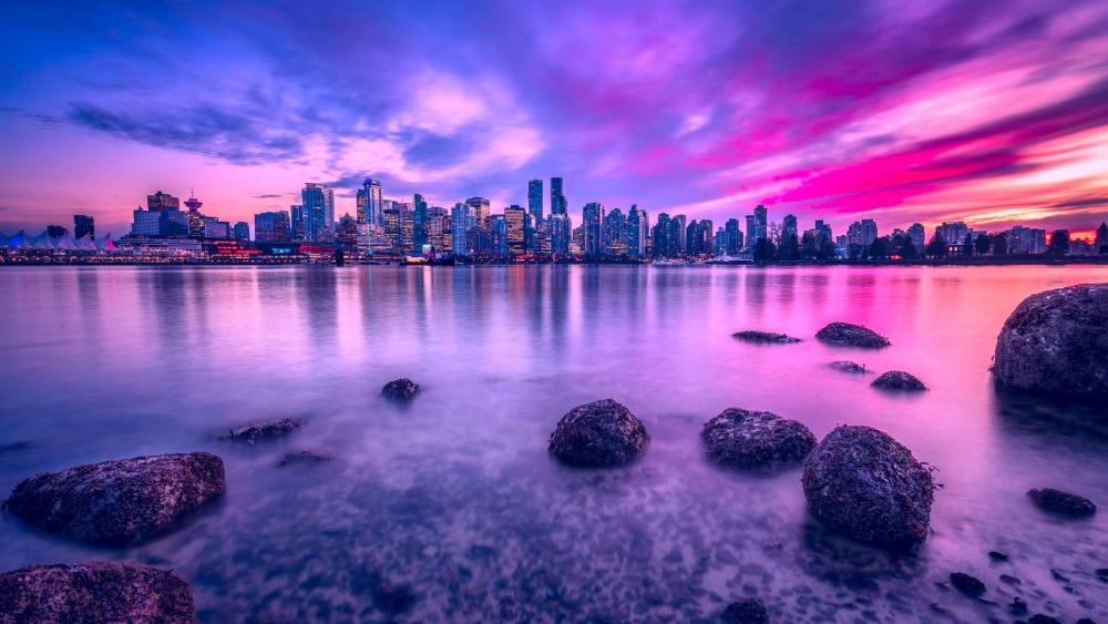 Vancouver in purple wallpaper