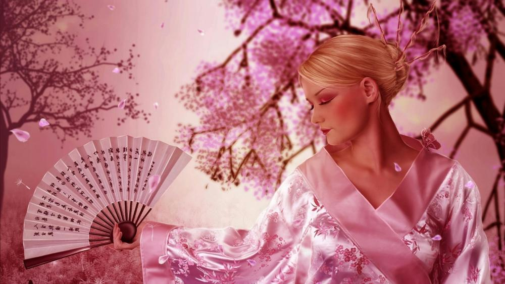 Blonde Geisha wallpaper