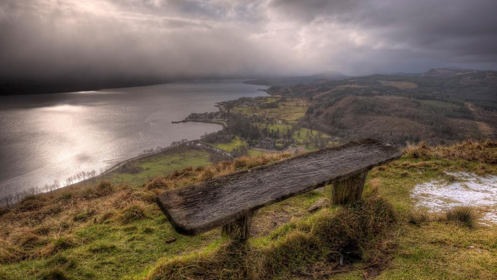 Bench with panoramic view wallpaper