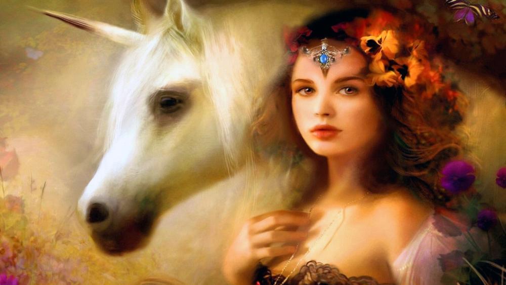 Unicorn with girl wallpaper