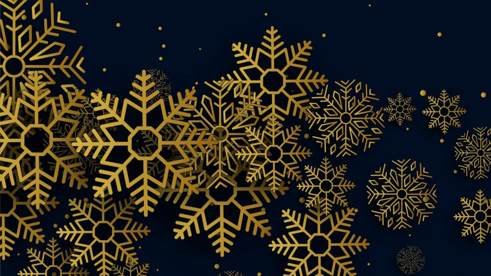 Golden snowflakes wallpaper