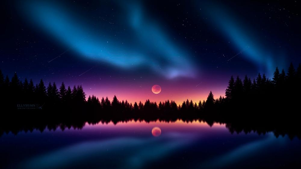 Polar lights and full moon wallpaper