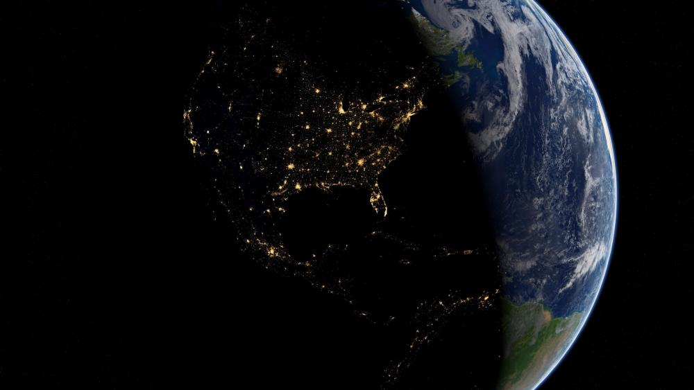 Earth by Night & Day: Americas at Night wallpaper