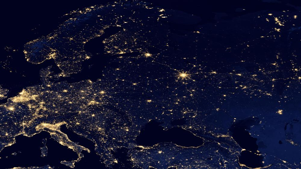 Night Lights of Eurasia & the Scandinavian Peninsula v2012 wallpaper