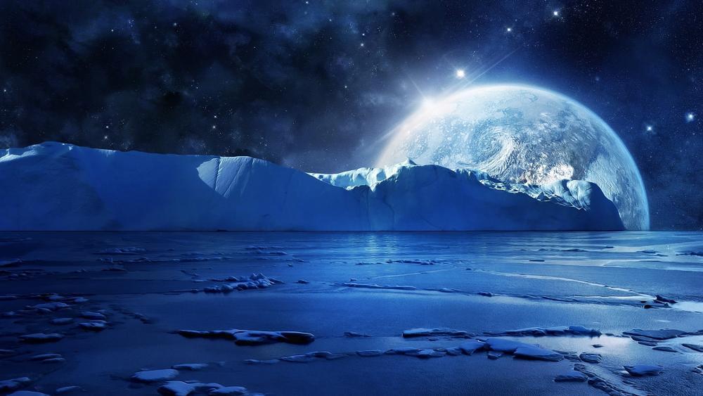 Icy planet landscape wallpaper