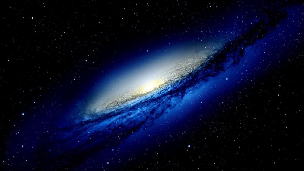 Blue spiral galaxy wallpaper