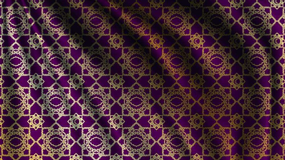 Purple silk with golden pattern wallpaper