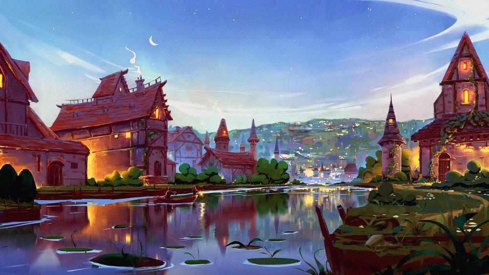 Fairytale town wallpaper