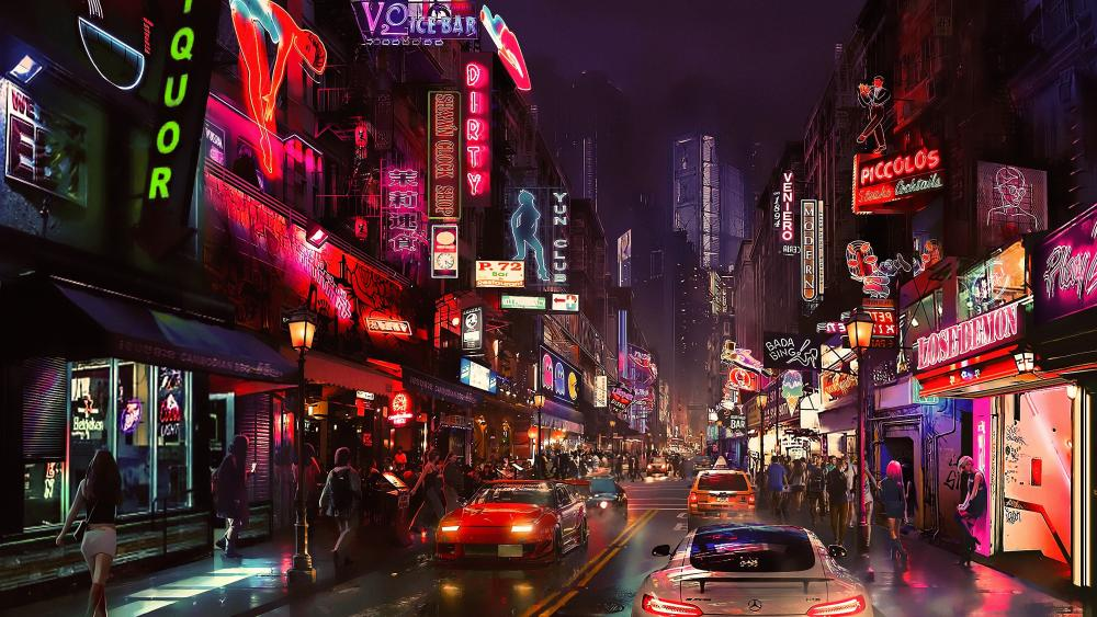 Futuristic metropolis wallpaper