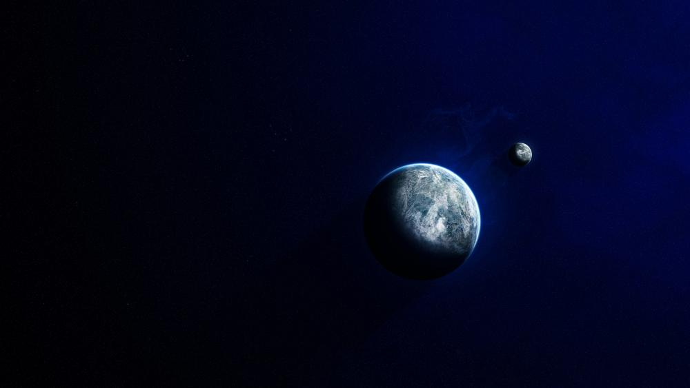 Crescent moon and earth wallpaper