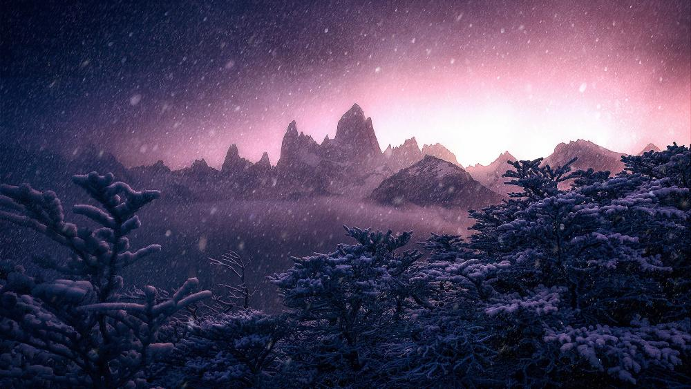Fitz Roy in the snowfall wallpaper