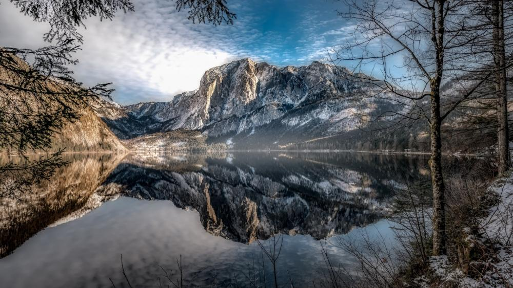 Beautiful winter landscape reflection wallpaper
