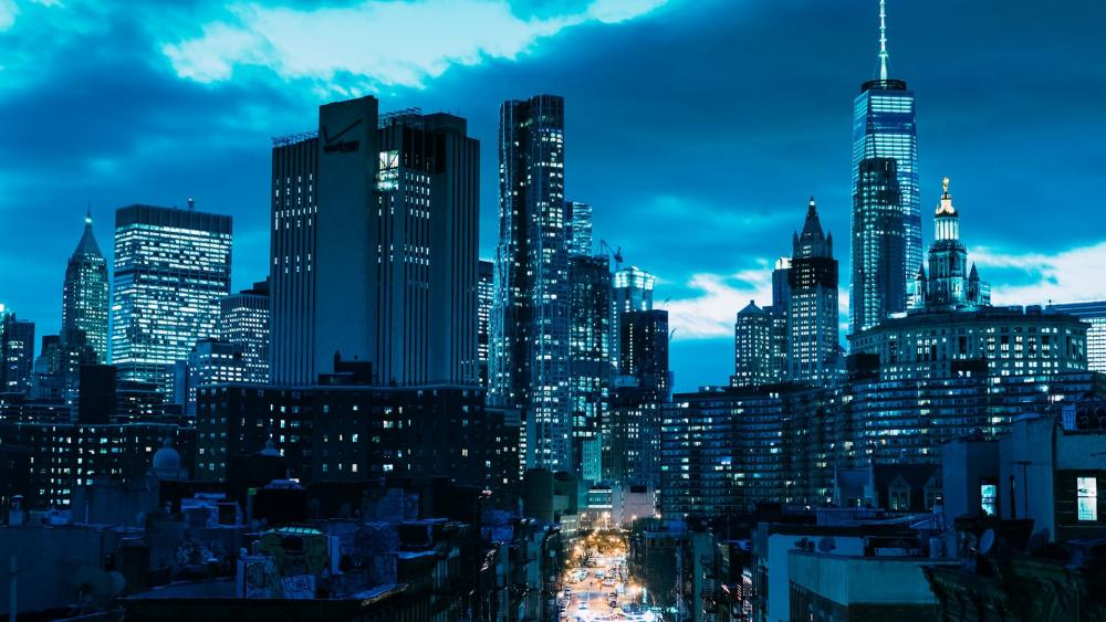 Manhattan in blue hour wallpaper