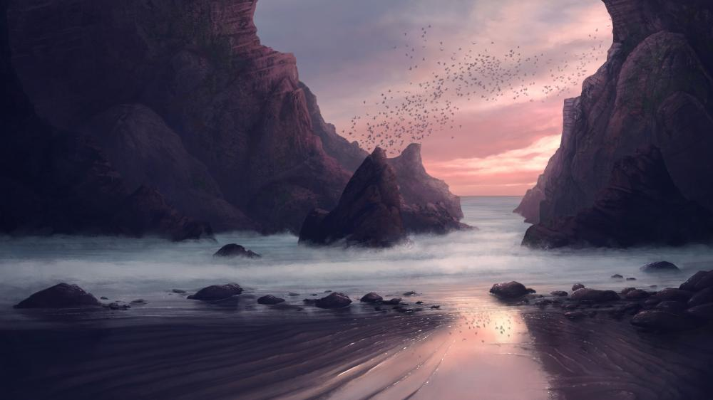 Hidden beach digital painting art wallpaper
