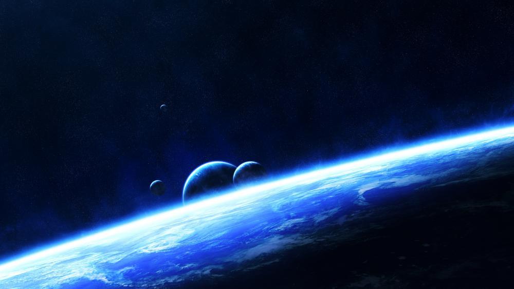 Multi moon space art wallpaper
