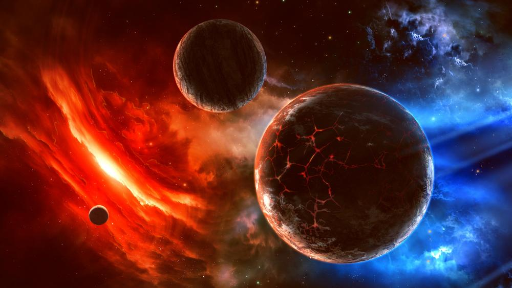 3D Planets space art wallpaper