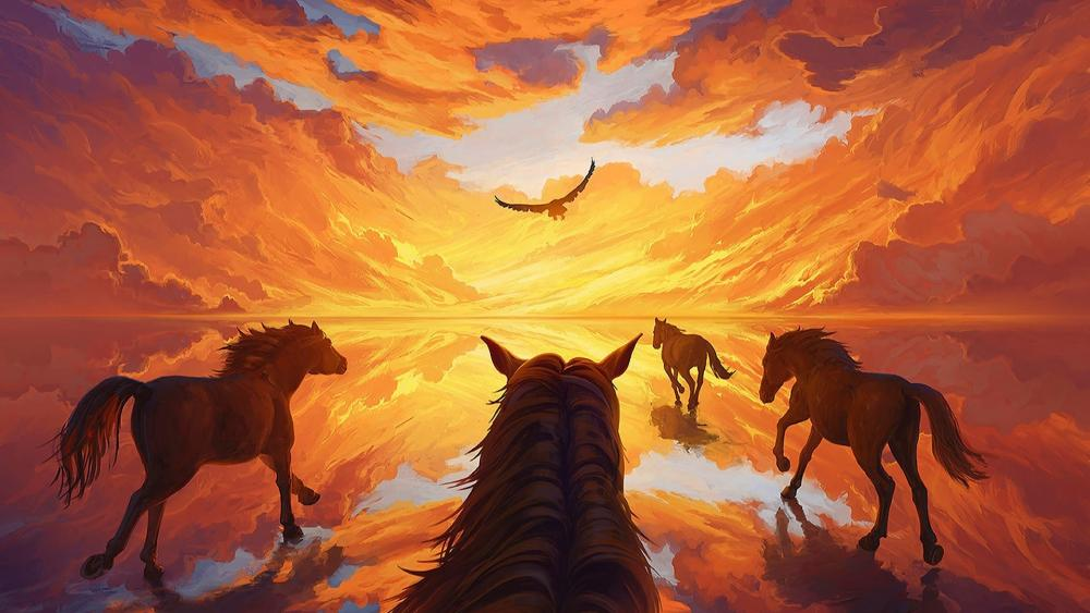 Horses digital art wallpaper
