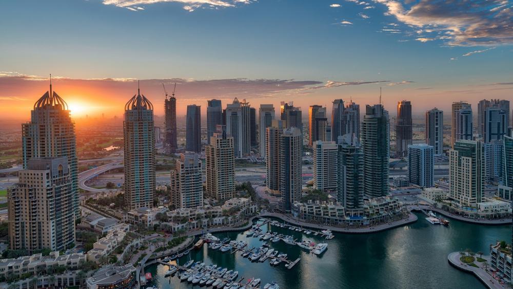 Dubai Marina aerial photography wallpaper