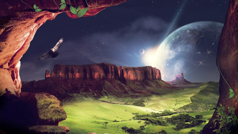 Earthlike planet fantasy art wallpaper
