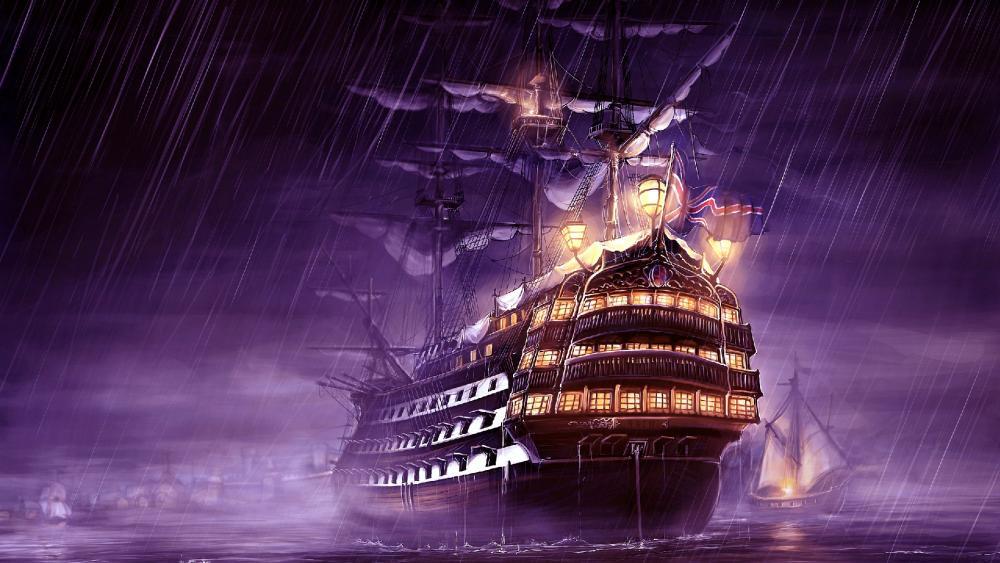 Galleon in the rain wallpaper