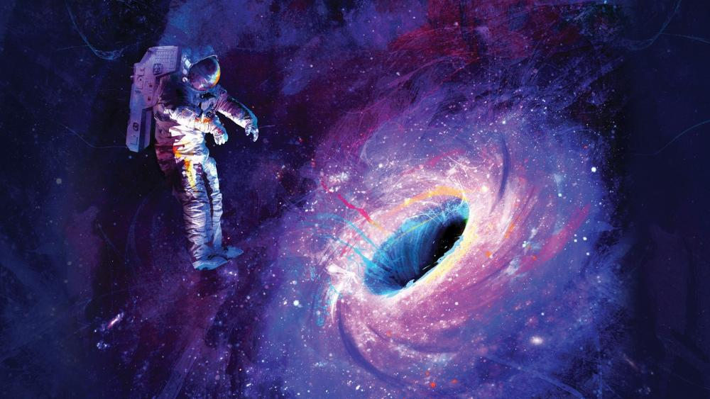 Astronaut and the black hole - Fantasy space art wallpaper